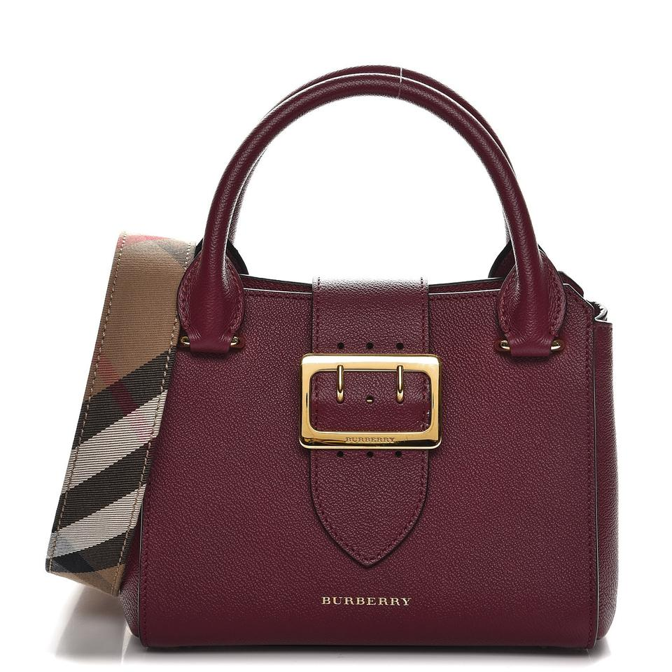 3b1712c1f0af Burberry Soft Grain Small Buckle Tote Dark Plum Leather Satchel ...