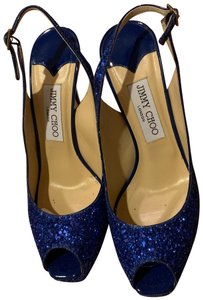 Jimmy Choo cobalt blue sparkle Platforms