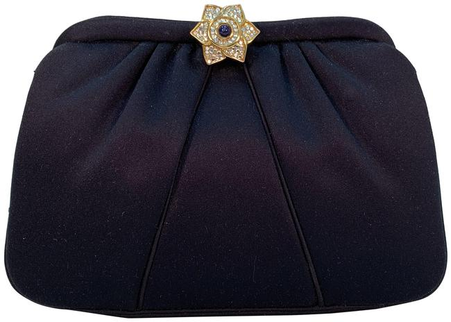 Item - Bejeweled Navy Leather Clutch
