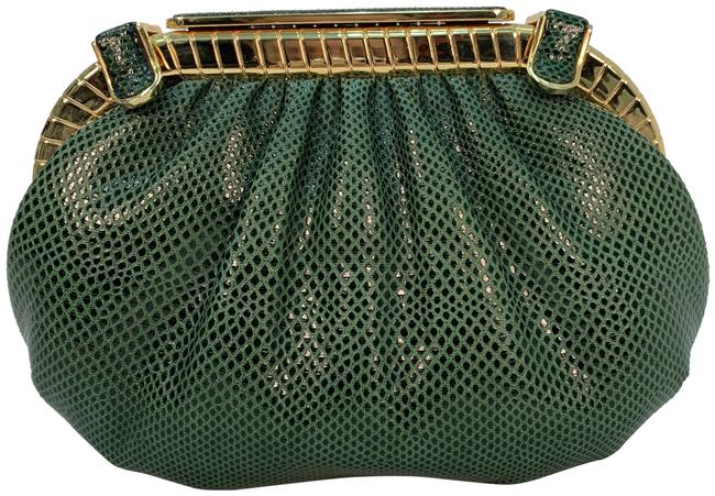 Item - Karung Embossed Green Leather Clutch