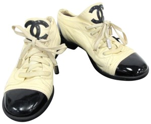 Chanel Designer Lambskin Leather Patent Leather Beige and Black Athletic