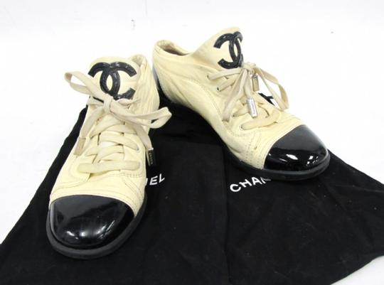 Chanel Designer Lambskin Leather Patent Leather Beige and Black Athletic Image 6