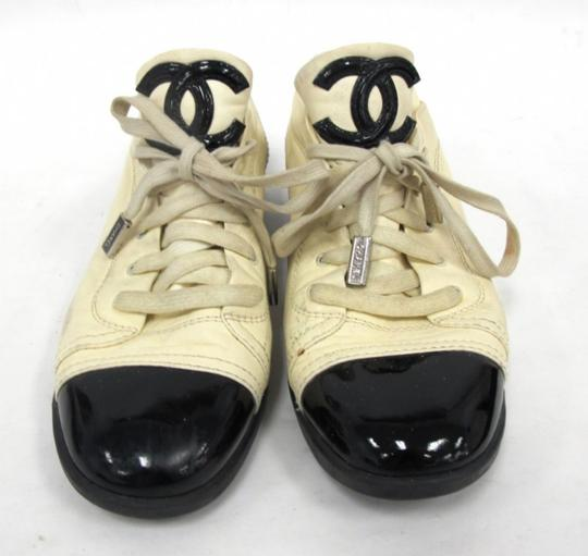 Chanel Designer Lambskin Leather Patent Leather Beige and Black Athletic Image 7