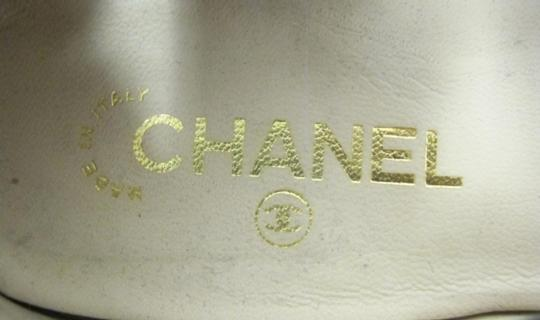 Chanel Designer Lambskin Leather Patent Leather Beige and Black Athletic Image 8