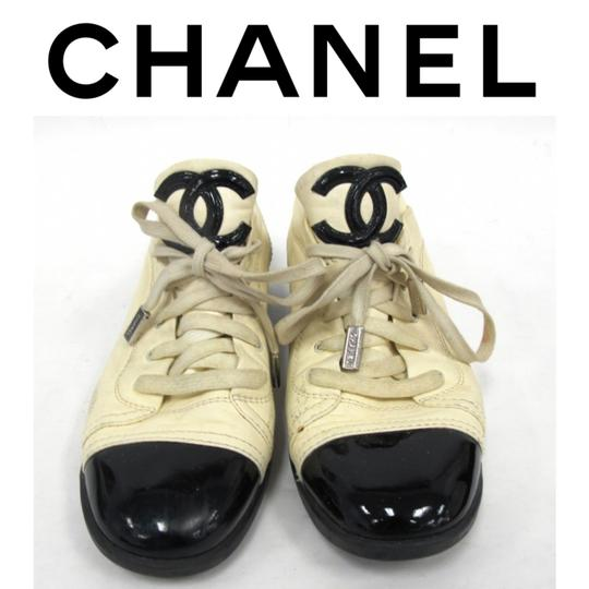 Chanel Designer Lambskin Leather Patent Leather Beige and Black Athletic Image 9