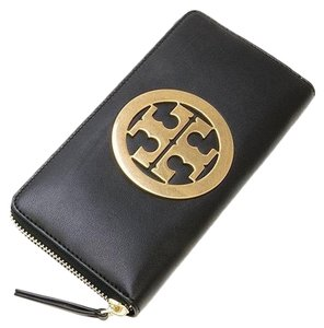 Tory Burch NEW TORY BURCH LOGO LEATHER ZIP AROUND LARGE WALLET BAG NWT