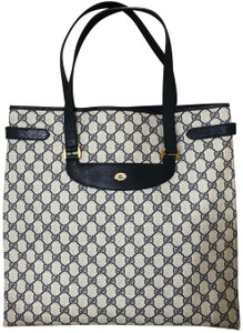Gucci Accessory Collection Made In Italy Monogram Leather Tote in Blue