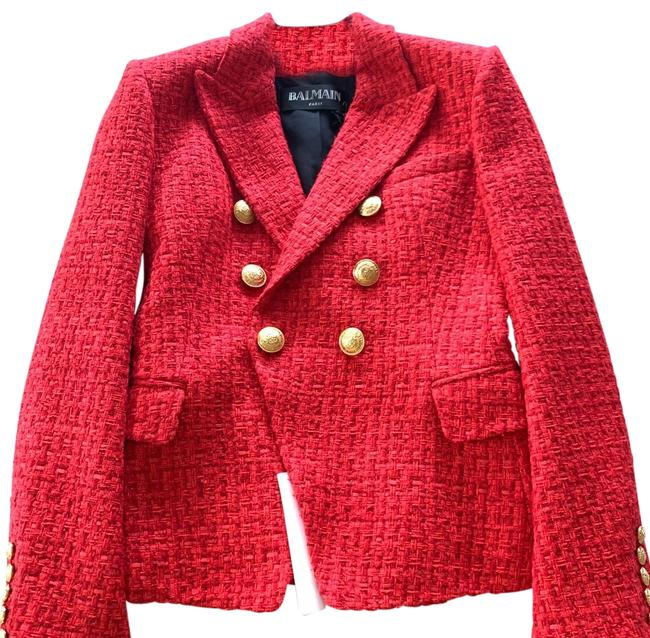 Item - Red 2.9 Tweed Double Breasted Gold Buttons Jacket Blazer Size 6 (S)
