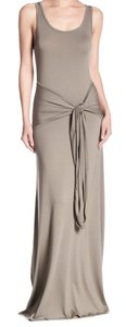 Olive Maxi Dress by Go Couture Scoop Neck Hip Tie Accent Scoop Back Seam Detailing Luxe Modal Fabric