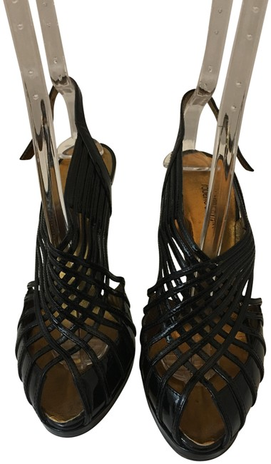 Item - White 1211218 Black Patent Leather Cage Strappy Sandals Size EU 38.5 (Approx. US 8.5) Regular (M, B)