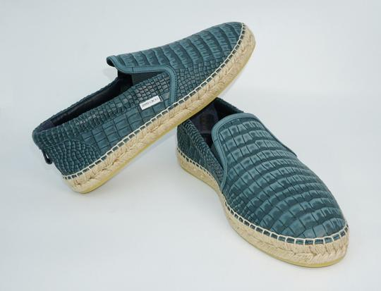 Jimmy Choo Green Vlad Leather Croc Print Logo Espadrille 41 8 Spain Shoes Image 2