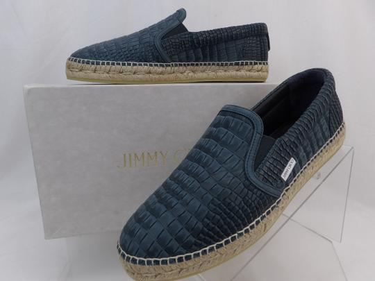 Jimmy Choo Green Vlad Leather Croc Print Logo Espadrille 41 8 Spain Shoes Image 5