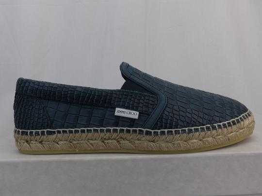 Jimmy Choo Green Vlad Leather Croc Print Logo Espadrille 41 8 Spain Shoes Image 7