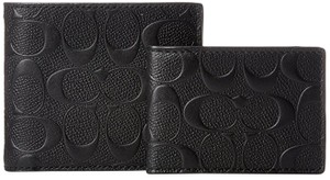 Coach Black Men's Compact Id In Signature Crossgrain Leather Wallet