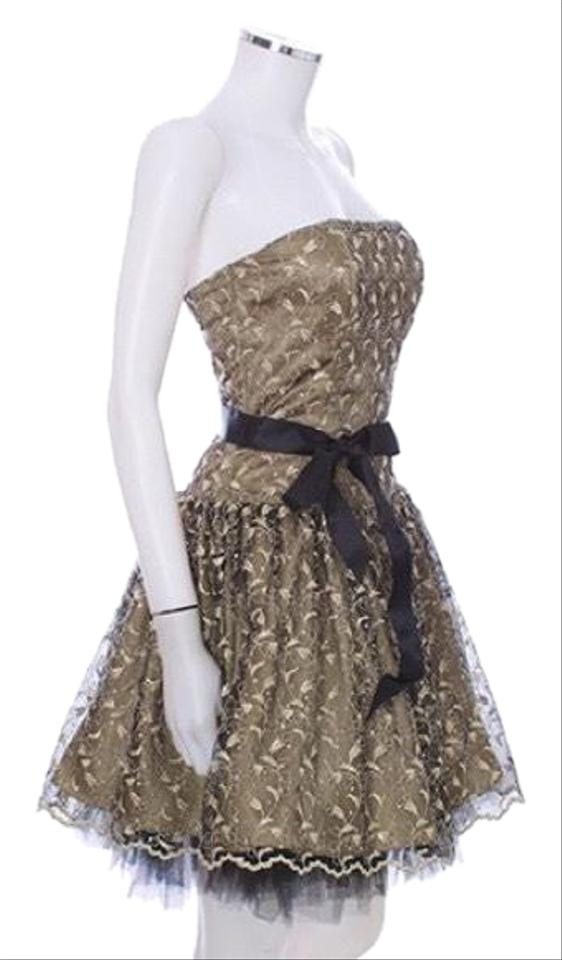 ec61991a407 Jessica McClintock Gold and Black Strapless Sparkling Cocktail Length Prom Formal  Dress
