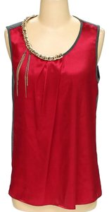 A.B.S. by Allen Schwartz Colorblock Sleeveless Gold Chain Top red and grey