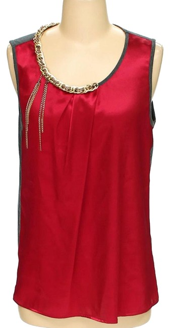 Preload https://img-static.tradesy.com/item/24508570/abs-by-allen-schwartz-red-and-grey-colorblock-chain-detail-sleeveless-blouse-tank-topcami-size-8-m-0-1-650-650.jpg