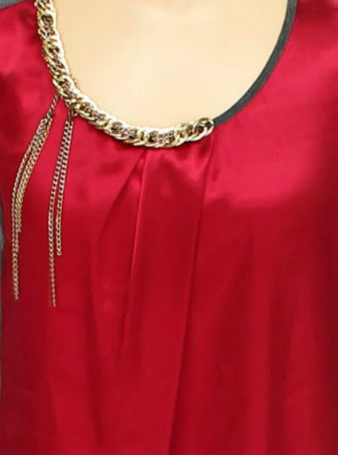 A.B.S. by Allen Schwartz Colorblock Sleeveless Gold Chain Top red and grey Image 1