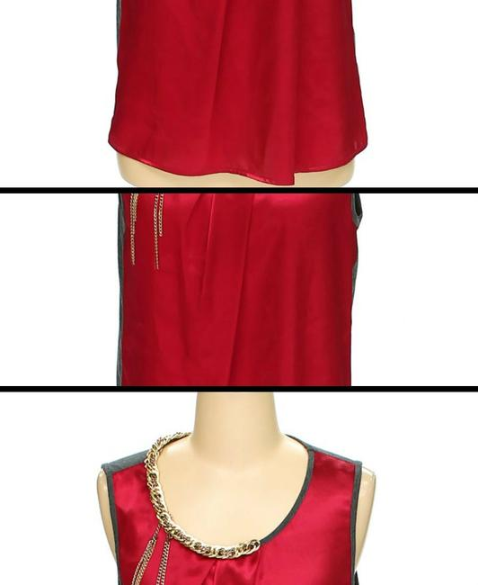 A.B.S. by Allen Schwartz Colorblock Sleeveless Gold Chain Top red and grey Image 2