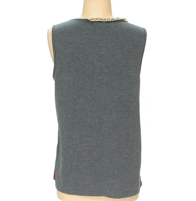A.B.S. by Allen Schwartz Colorblock Sleeveless Gold Chain Top red and grey Image 3
