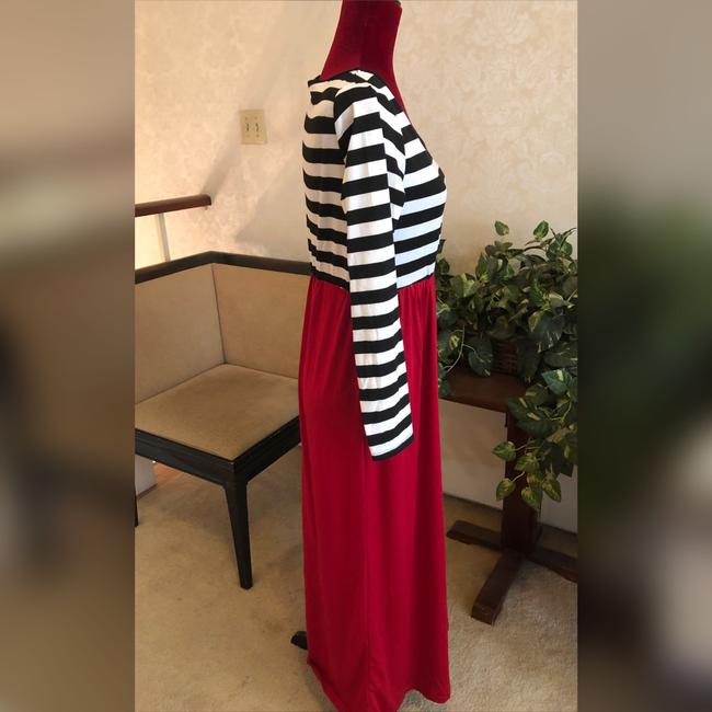 Black, White and Red Maxi Dress by NA Image 1