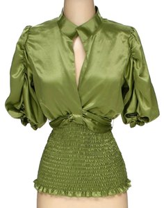 A.B.S. by Allen Schwartz Rouched Shirt Adjustable At Waist Top Lemon green