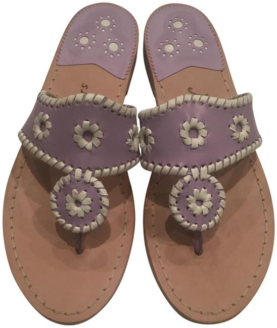 Item - Purple and White Light with Whipstitch Sandals Size US 8 Regular (M, B)