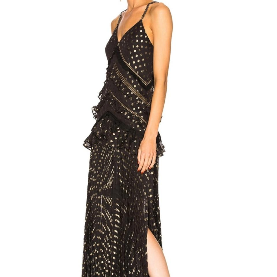 ec6faa99081a self-portrait Black Gold Fil CoupÉ Chiffon Pleated Maxi Long Formal Dress  Size 10 (M) - Tradesy