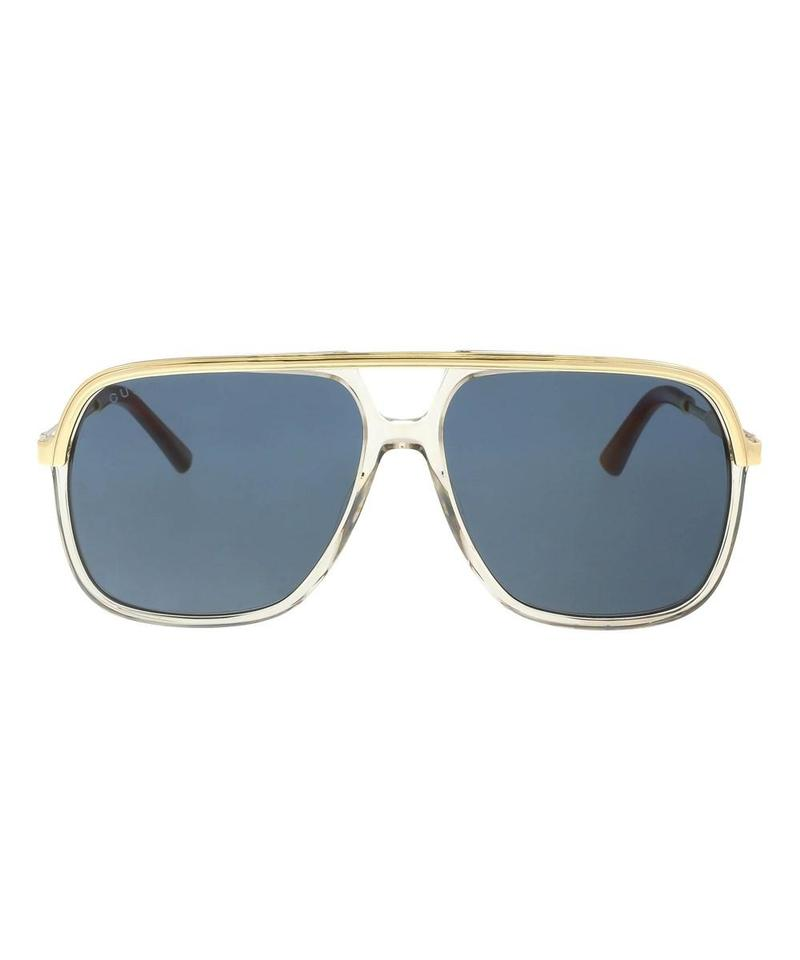 d4218865832 Gucci Clear New Gg0200s 0200s 004 Blue Lens Square Aviator Sunglasses