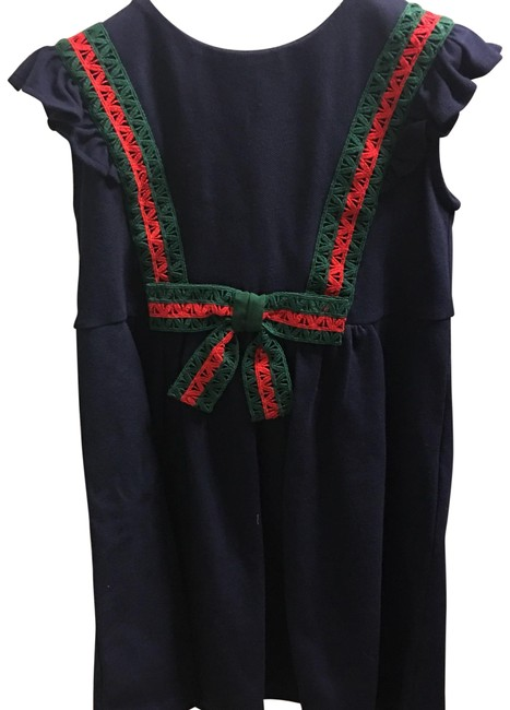 Item - Navy Red & Green Girl Mid-length Formal Dress Size 4 (S)