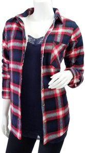 Ambiance Apparel Jacket Flannel Plaid Fur Lining Button Down Shirt Navy/Red