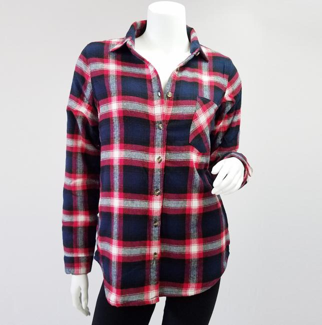 Ambiance Apparel Jacket Flannel Plaid Fur Lining Button Down Shirt Navy/Red Image 1