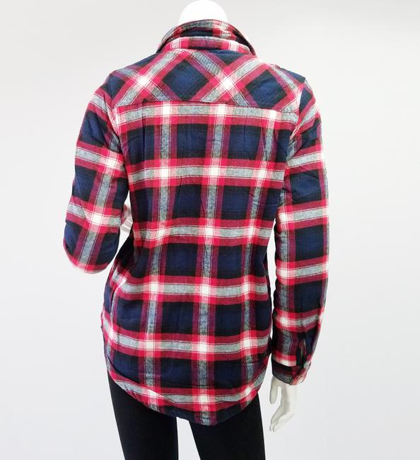 Ambiance Apparel Jacket Flannel Plaid Fur Lining Button Down Shirt Navy/Red Image 10