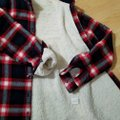 Ambiance Apparel Jacket Flannel Plaid Fur Lining Button Down Shirt Navy/Red Image 11
