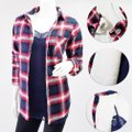 Ambiance Apparel Jacket Flannel Plaid Fur Lining Button Down Shirt Navy/Red Image 3