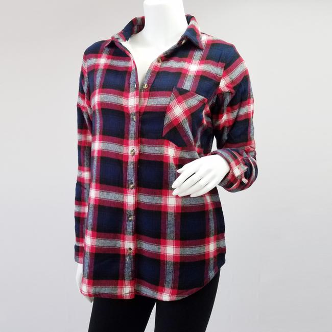 Ambiance Apparel Jacket Flannel Plaid Fur Lining Button Down Shirt Navy/Red Image 4