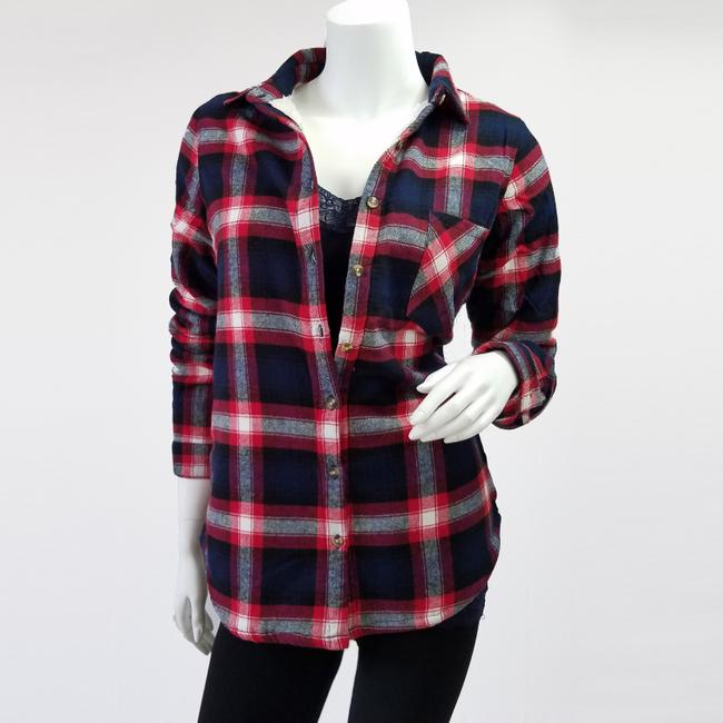 Ambiance Apparel Jacket Flannel Plaid Fur Lining Button Down Shirt Navy/Red Image 5