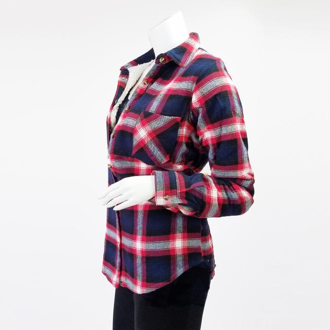 Ambiance Apparel Jacket Flannel Plaid Fur Lining Button Down Shirt Navy/Red Image 6