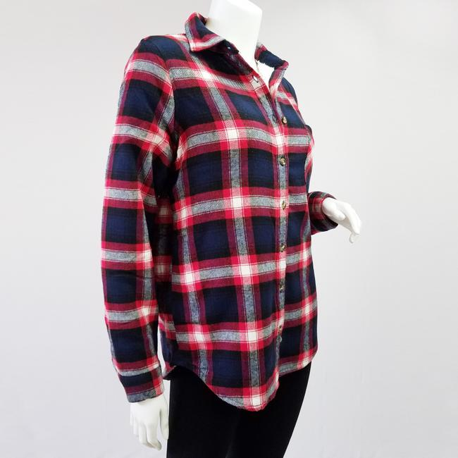 Ambiance Apparel Jacket Flannel Plaid Fur Lining Button Down Shirt Navy/Red Image 9