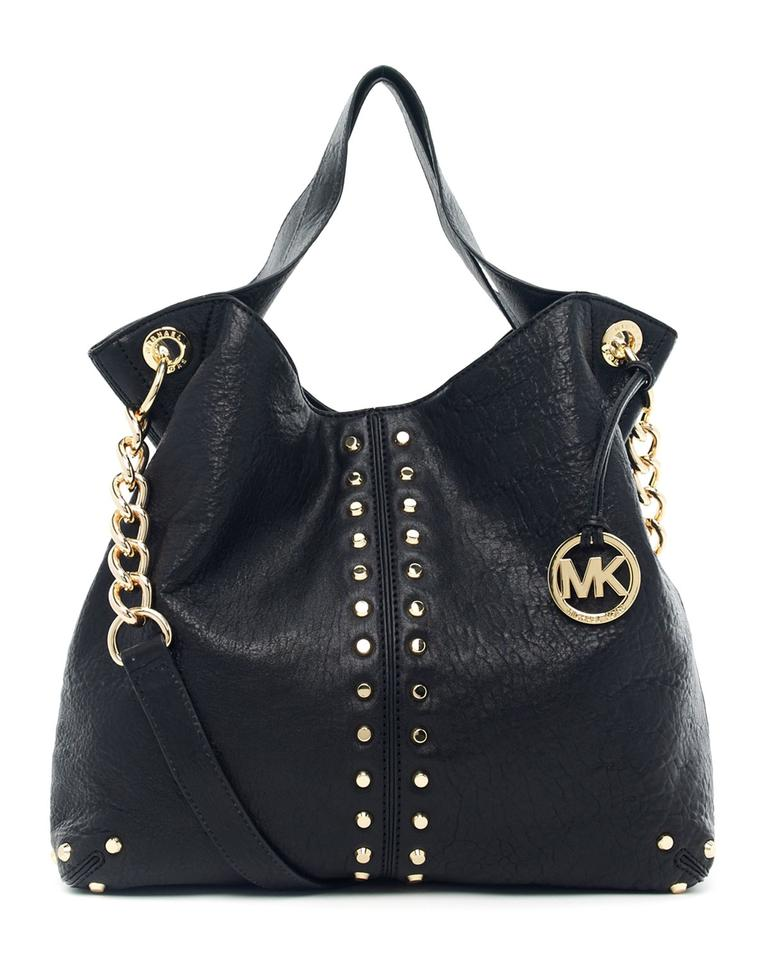 502f0c587a35 Michael Kors Uptown Astor Gold Studded Large Convertible Satchel Shoulder  Black Tumbled Leather Tote
