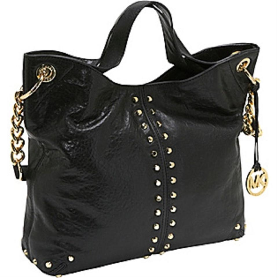 ee0c5f74c139 Michael Kors Uptown Astor Gold Studded Large Convertible Satchel Shoulder  Black Tumbled Leather Tote - Tradesy