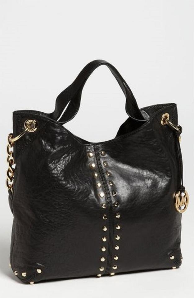 Michael Kors Uptown Astor Gold Studded Large Convertible Satchel Shoulder  Black Tumbled Leather Tote - Tradesy 620576ed59878