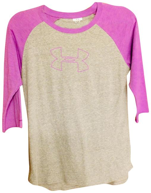 Item - Grey with Lavender Arms Cotton T-shirt Activewear Top Size 10 (M)