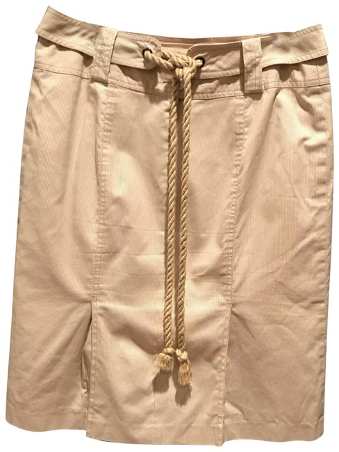 Item - Beige Cotton Yachting with Tie Belt Skirt Size 6 (S, 28)