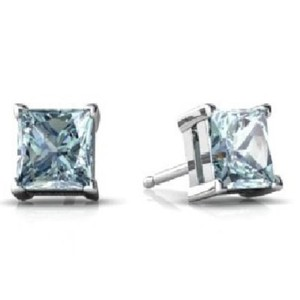 Elizabeth Jewelry Genuine Aquamarine Princess Cut Stud Earrings .925 Sterling Silver