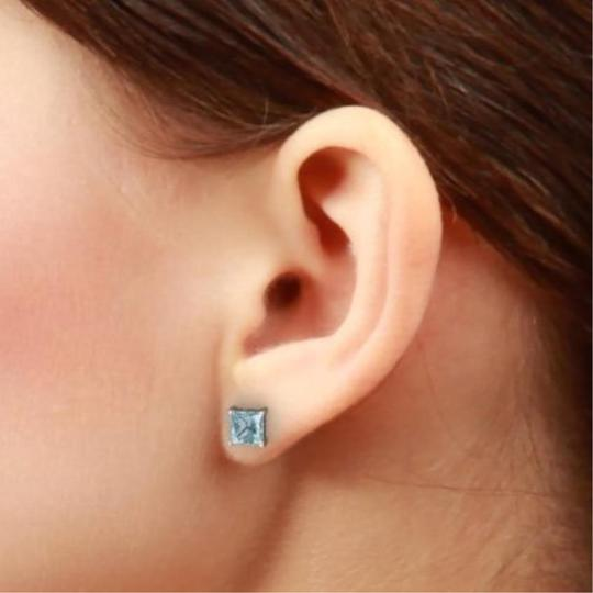 Elizabeth Jewelry Genuine Aquamarine Princess Cut Stud Earrings .925 Sterling Silver Image 2