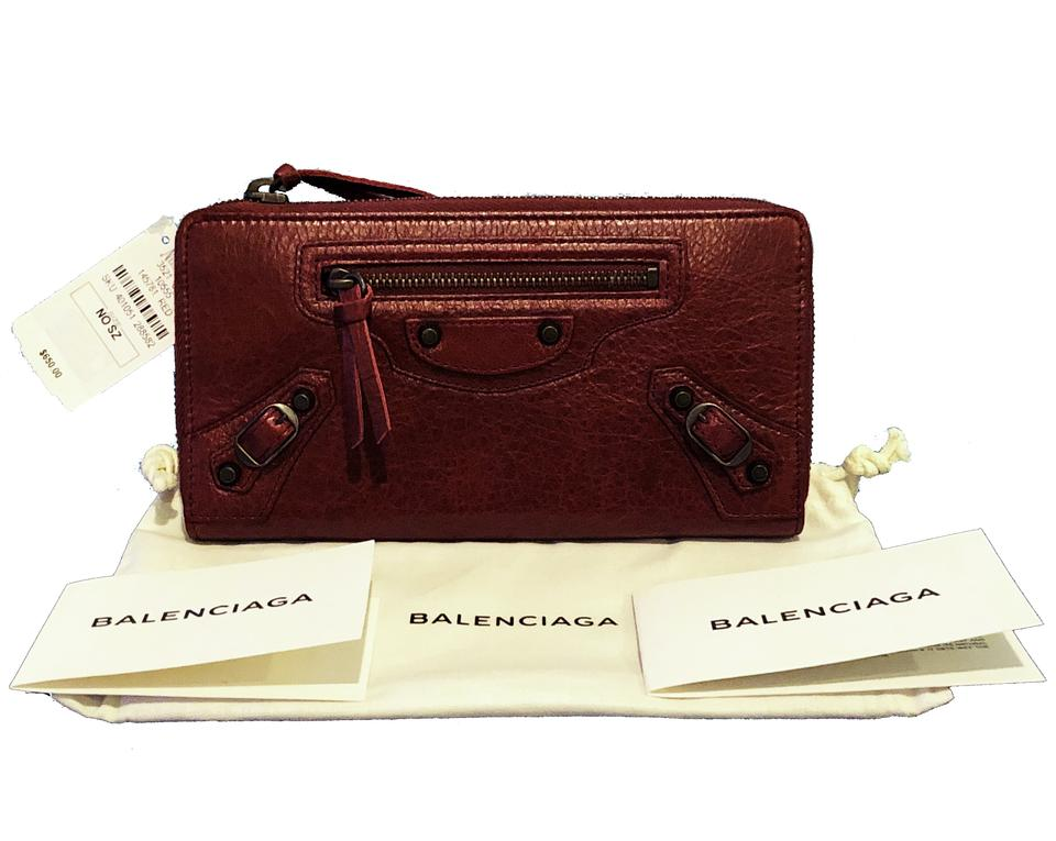 0f0970c7d44 Balenciaga Burgundy Red Classic Continental Lambskin Zip Around Wallet -  Tradesy