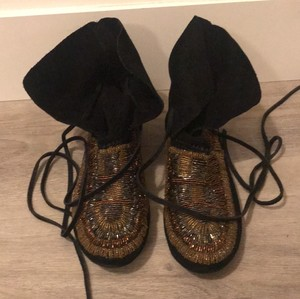 Elizabeth and James Black with Gold beading Boots