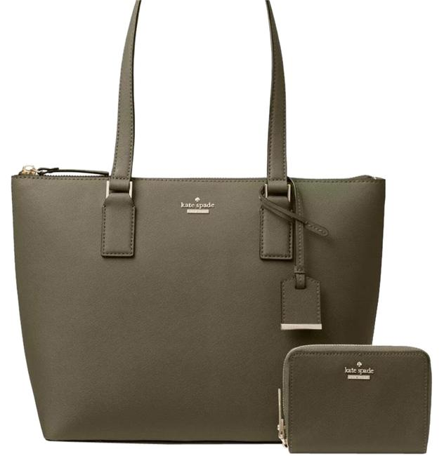 Item - Small Lucie Tote & Lanier Wallet Set Green/Gold Leather Shoulder Bag
