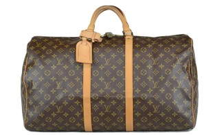 Louis Vuitton Keepall Monogram Canvas Tote in Brown